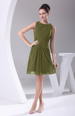 Olive Green Modest A Line Bateau Sleeveless Chiffon Party Dresses