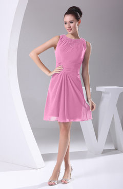 Pink Modest A-line Bateau Sleeveless Chiffon Party Dresses