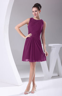 Raspberry Modest A-line Bateau Sleeveless Chiffon Party Dresses