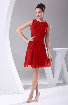 Red Modest A-line Bateau Sleeveless Chiffon Party Dresses