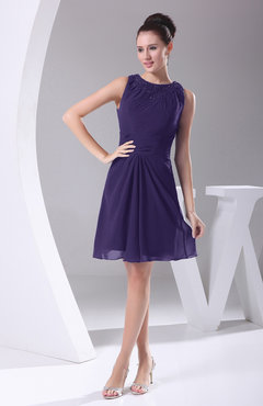 Royal Purple Modest A-line Bateau Sleeveless Chiffon Party Dresses