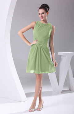 Sage Green Modest A-line Bateau Sleeveless Chiffon Party Dresses
