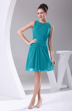 Teal Modest A-line Bateau Sleeveless Chiffon Party Dresses