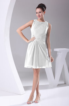 White Modest A-line Bateau Sleeveless Chiffon Party Dresses