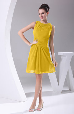 Yellow Modest A-line Bateau Sleeveless Chiffon Party Dresses
