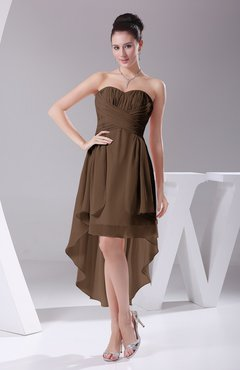 Brown Informal A-line Sweetheart Chiffon Ruching Bridesmaid Dresses