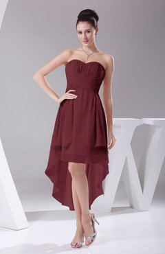 Burgundy Informal A-line Sweetheart Chiffon Ruching Bridesmaid Dresses