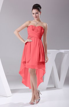 Coral Informal A-line Sweetheart Chiffon Ruching Bridesmaid Dresses