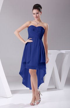 Electric Blue Informal A-line Sweetheart Chiffon Ruching Bridesmaid Dresses