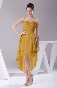 Gold Informal A-line Sweetheart Chiffon Ruching Bridesmaid Dresses