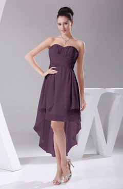 Italian Plum Informal A Line Sweetheart Chiffon Ruching Bridesmaid Dresses
