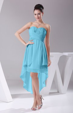 Light Blue Informal A-line Sweetheart Chiffon Ruching Bridesmaid Dresses