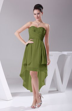 Olive Green Informal A Line Sweetheart Chiffon Ruching Bridesmaid Dresses