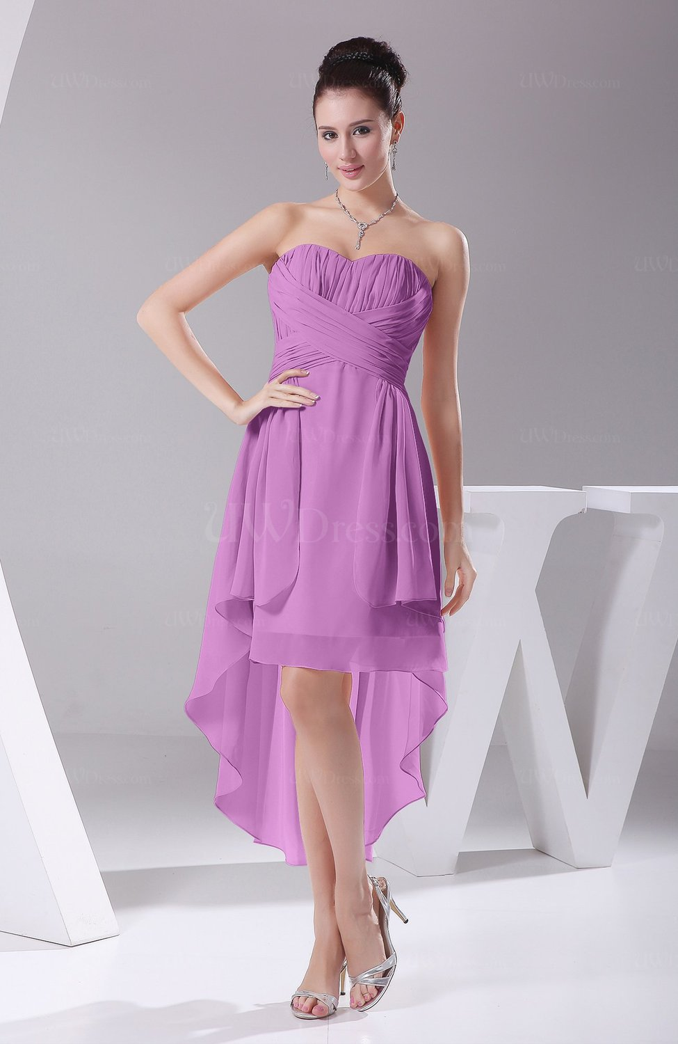 Orchid informal a line sweetheart chiffon ruching for Colored casual wedding dresses
