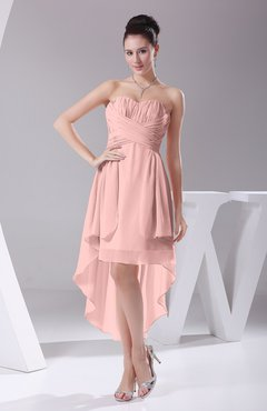 Pastel Pink Informal A Line Sweetheart Chiffon Ruching Bridesmaid Dresses