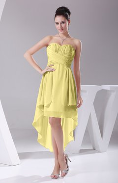 Pastel Yellow Informal A Line Sweetheart Chiffon Ruching Bridesmaid Dresses