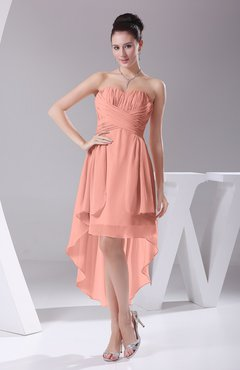 Peach Informal A-line Sweetheart Chiffon Ruching Bridesmaid Dresses