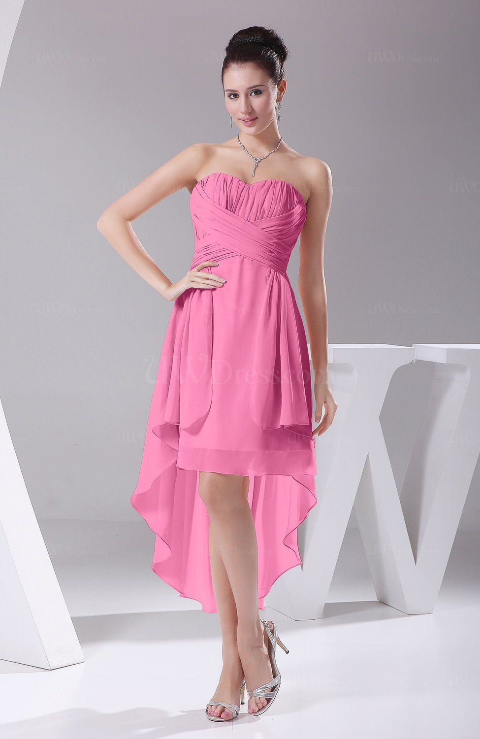 Pink Informal Wedding Dresses : Pink informal a line sweetheart chiffon ruching bridesmaid