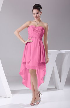 Pink Informal A-line Sweetheart Chiffon Ruching Bridesmaid Dresses