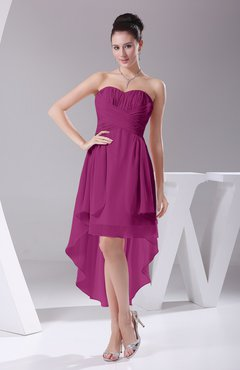 Raspberry Informal A-line Sweetheart Chiffon Ruching Bridesmaid Dresses
