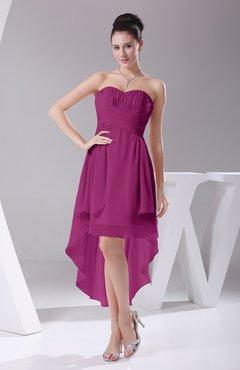 Raspberry Informal A Line Sweetheart Chiffon Ruching Bridesmaid Dresses