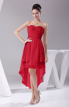 Red Informal A-line Sweetheart Chiffon Ruching Bridesmaid Dresses