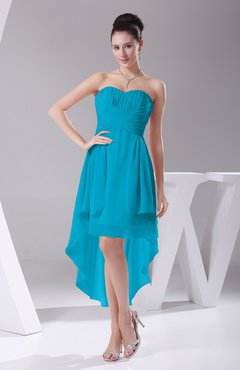 Teal Informal A-line Sweetheart Chiffon Ruching Bridesmaid Dresses