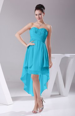 Turquoise Informal A Line Sweetheart Chiffon Ruching Bridesmaid Dresses