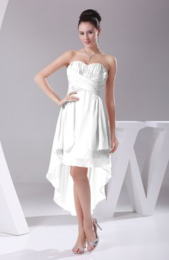 White Informal A-line Sweetheart Chiffon Ruching Bridesmaid Dresses