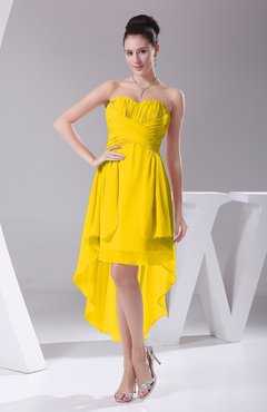 Yellow Informal A-line Sweetheart Chiffon Ruching Bridesmaid Dresses