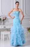 Medieval Strapless Sleeveless Backless Organza Beaded Party Dresses