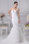 Gorgeous Garden Strapless Sleeveless Lace up Brush Train Tiered Bridal Gowns