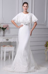 Sexy Outdoor Short Sleeve Zip up Court Train Lace Bridal Gowns