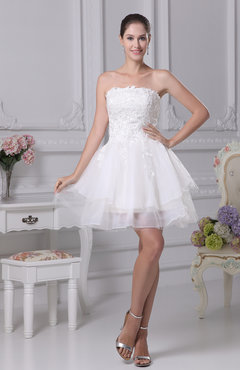 Hawaiian Outdoor Baby Doll Strapless Sleeveless Backless Mini Bridal Gowns