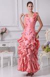 Sexy Sheath Thick Straps Taffeta Flower Evening Dresses