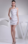 Casual One Shoulder Sleeveless Zipper Beaded Graduation Dresses