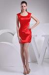 Plain Sheath Scoop Sleeveless Silk Like Satin Plainness Homecoming Dresses