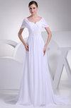 Antique Church A-line Short Sleeve Zip up Appliques Bridal Gowns
