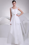 Modest Beach Thick Straps Backless Floor Length Ruching Bridal Gowns