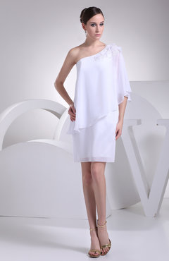 White Casual Destination Sheath Elbow Length Sleeve Half Backless Mini Bridal Gowns