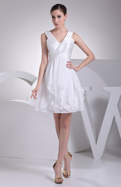 White Casual Destination A-line V-neck Sleeveless Zip up Short Bridal Gowns