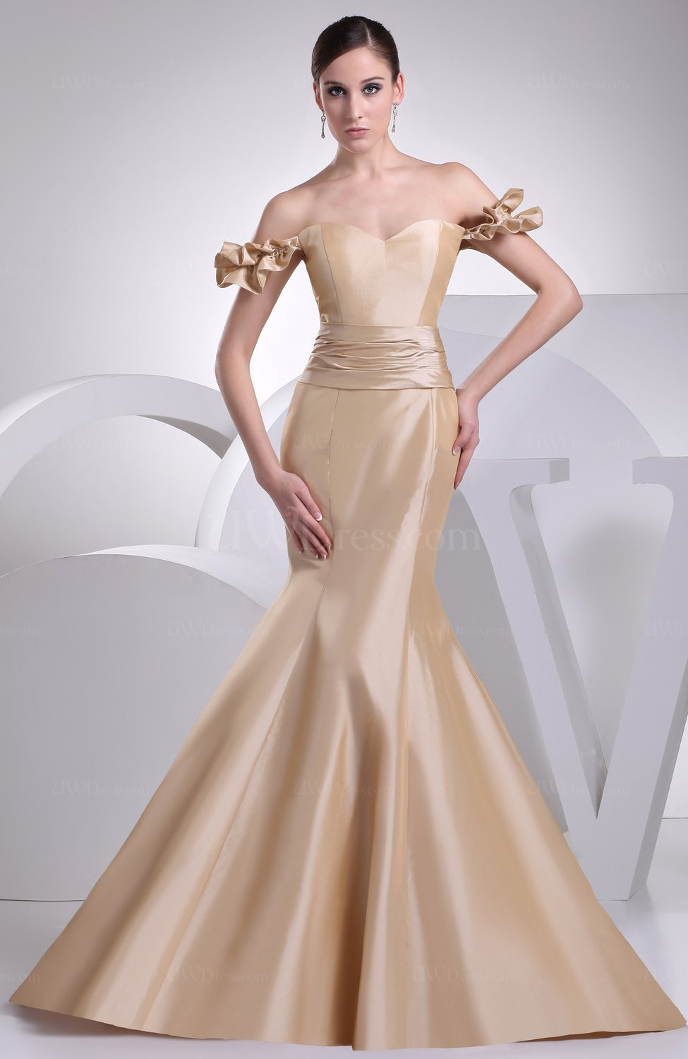 Sexy hall mermaid off the shoulder taffeta flower bridal for Wedding dress with red ribbon on waist