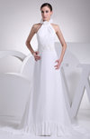 Elegant Hall A-line Halter Zip up Brush Train Flower Bridal Gowns