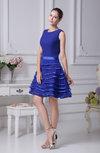 Plain Jewel Zip up Chiffon Tiered Prom Dresses