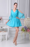 Cute V-neck 3/4 Length Sleeve Short Club Dresses
