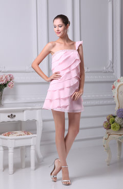Blush Informal Asymmetric Neckline Sleeveless Short Tiered Party Dresses