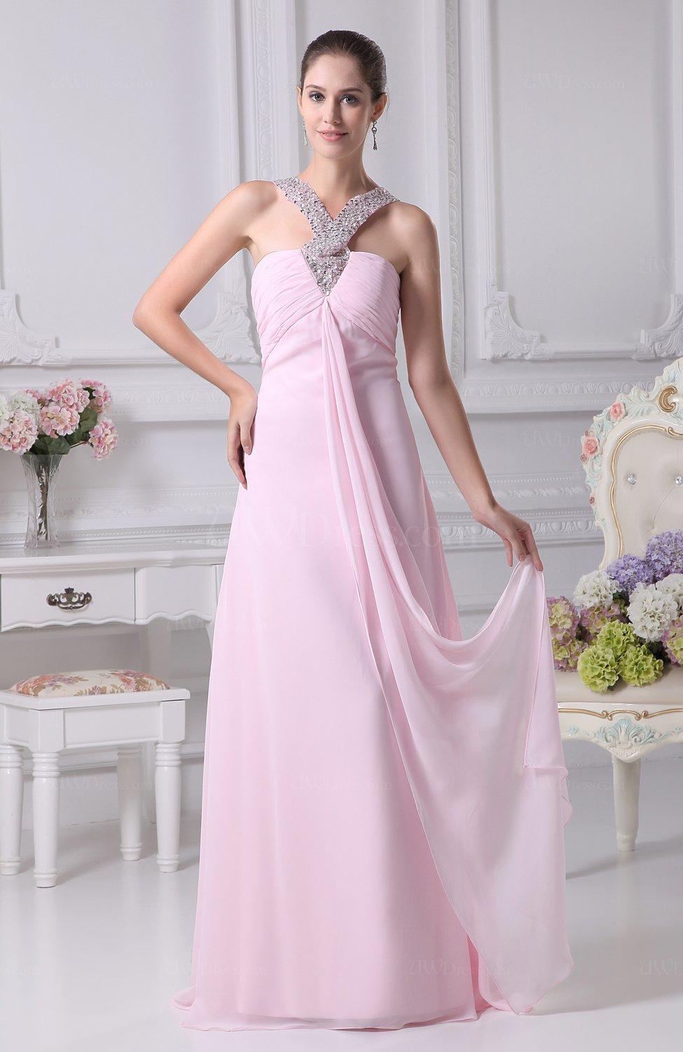 Baby Pink Cute Sheath V-neck Sleeveless Sequin Evening ...
