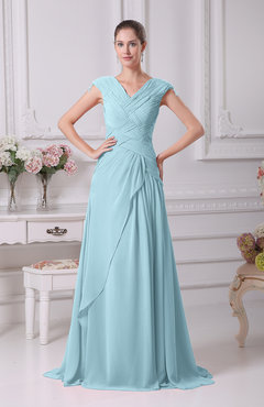 Aqua Elegant A-line V-neck Short Sleeve Chiffon Floor Length Prom Dresses