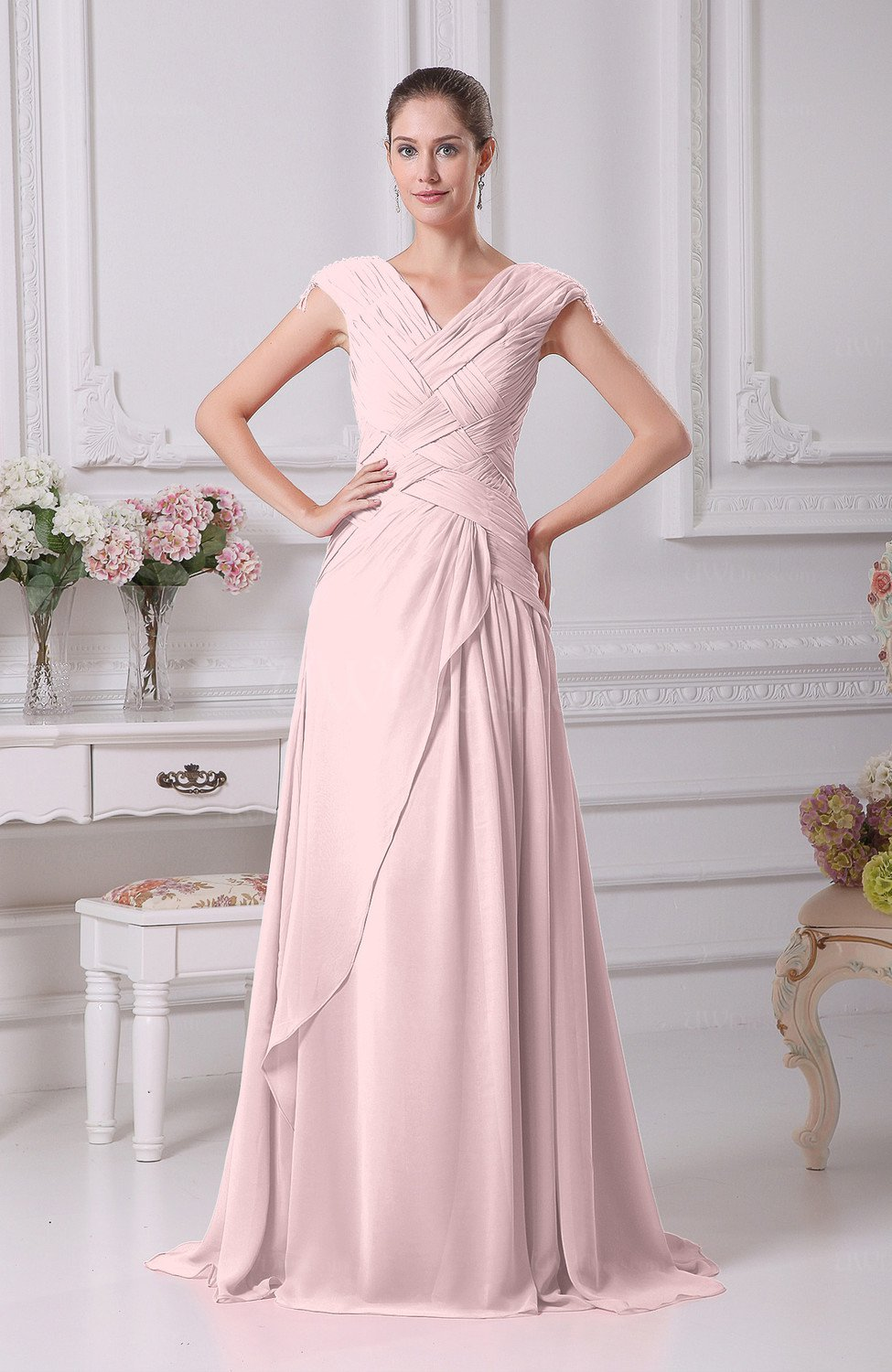 Blush elegant a line v neck short sleeve chiffon floor for Short elegant wedding dresses