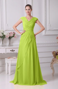 Bright Green Elegant A-line V-neck Short Sleeve Chiffon Floor Length Prom Dresses
